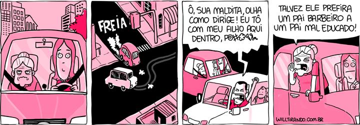 motorista Anésia filha estresse mal educado raiva exemplo filho criança pai rua carros
