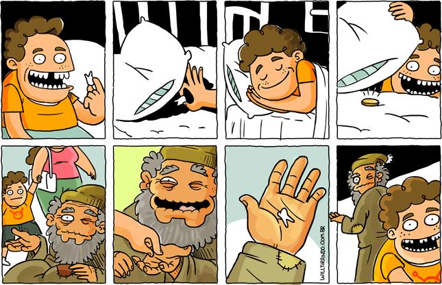 esmola mendigo criança fada do dente dinheiro moeda pedinte dormir