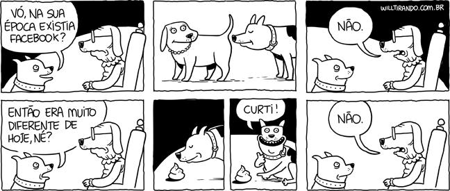 Facebook cães cachorros cocô cheirando traseiro internet vó neto antigamente