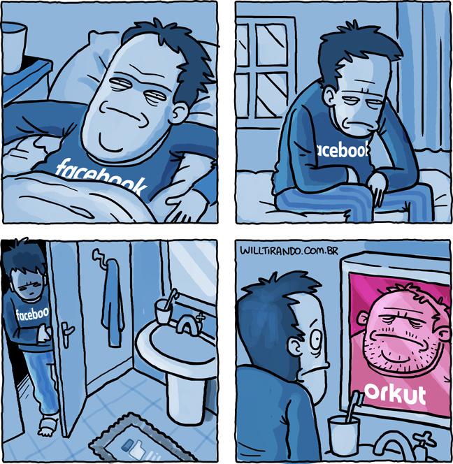 metamorfose internet redes sociais acordar Facebook Orkut banheiro espelho