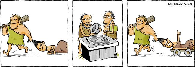 mulheres homens da caverna roda invenção praticidade cultura costumes