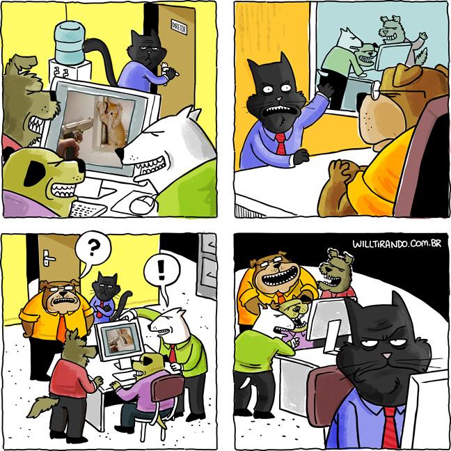 Astolfo cachorros gato cão trabalho preconceito internet imagens rindo risada gozação chefe diretor