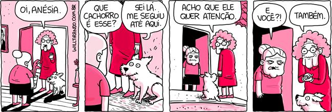 Anésia Dolores cachorro atenção porta visita