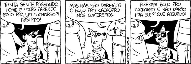 cão cachorro festa bolo aniversário mimimi críticas comida lição moral confuso