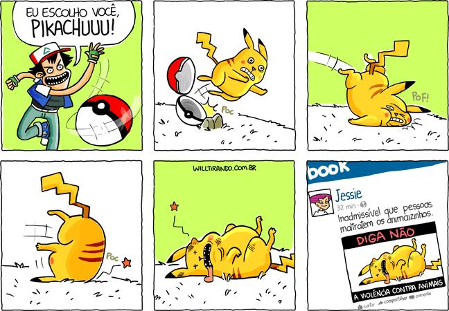 pokemon pikachu animais animal ash pokebola machucado maltratos violência tombo Jessie facebook hipocrisia internet